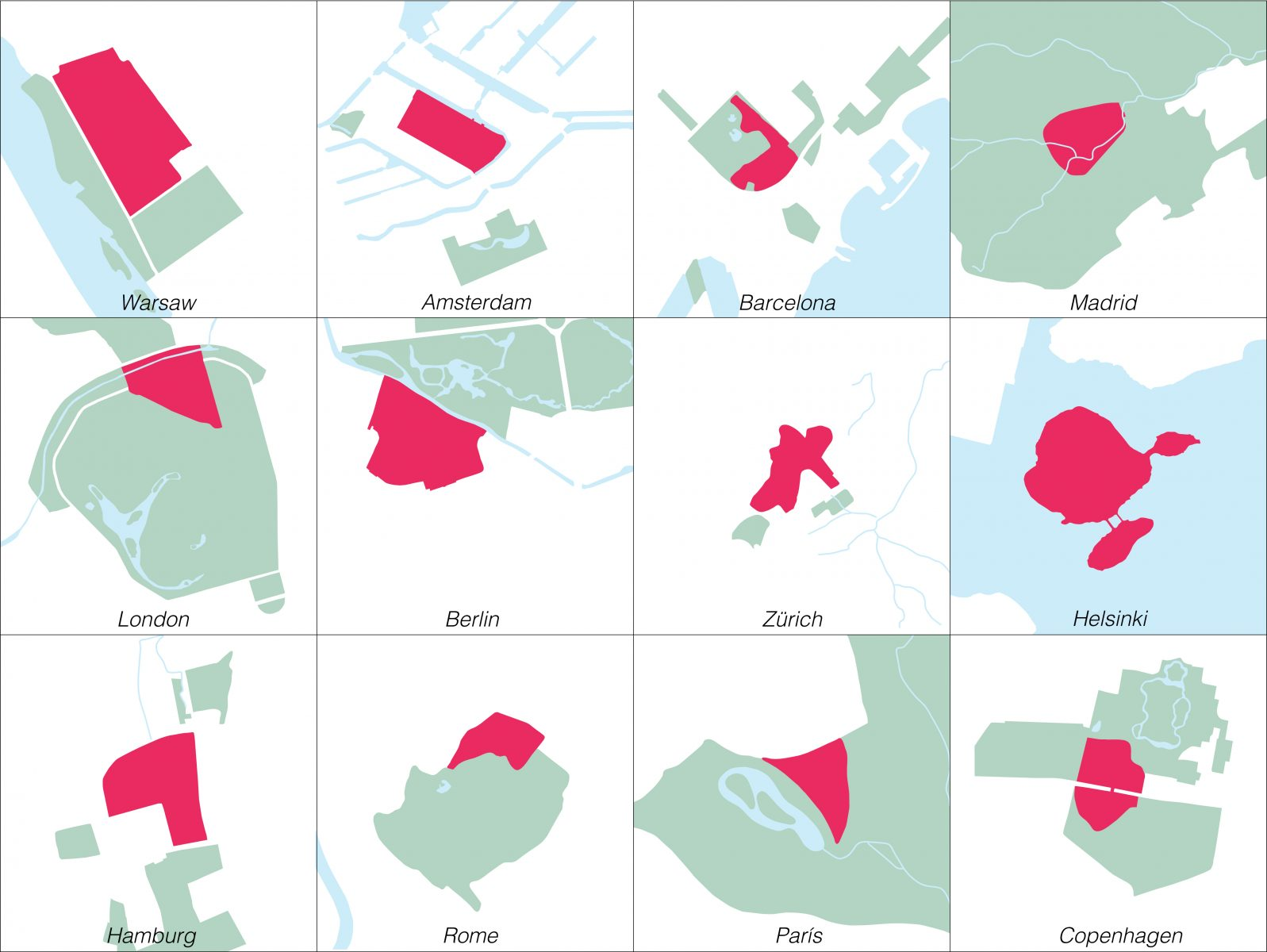 Conception for transforming metropolitan zoos. Comparison on the same scale of the zoo and the surrounding green areas of various cities with the potential to become the Fauna Districts. A network of such places can help preserve biodiversity by reacting to emerging issues during the upcoming great animal migrations.