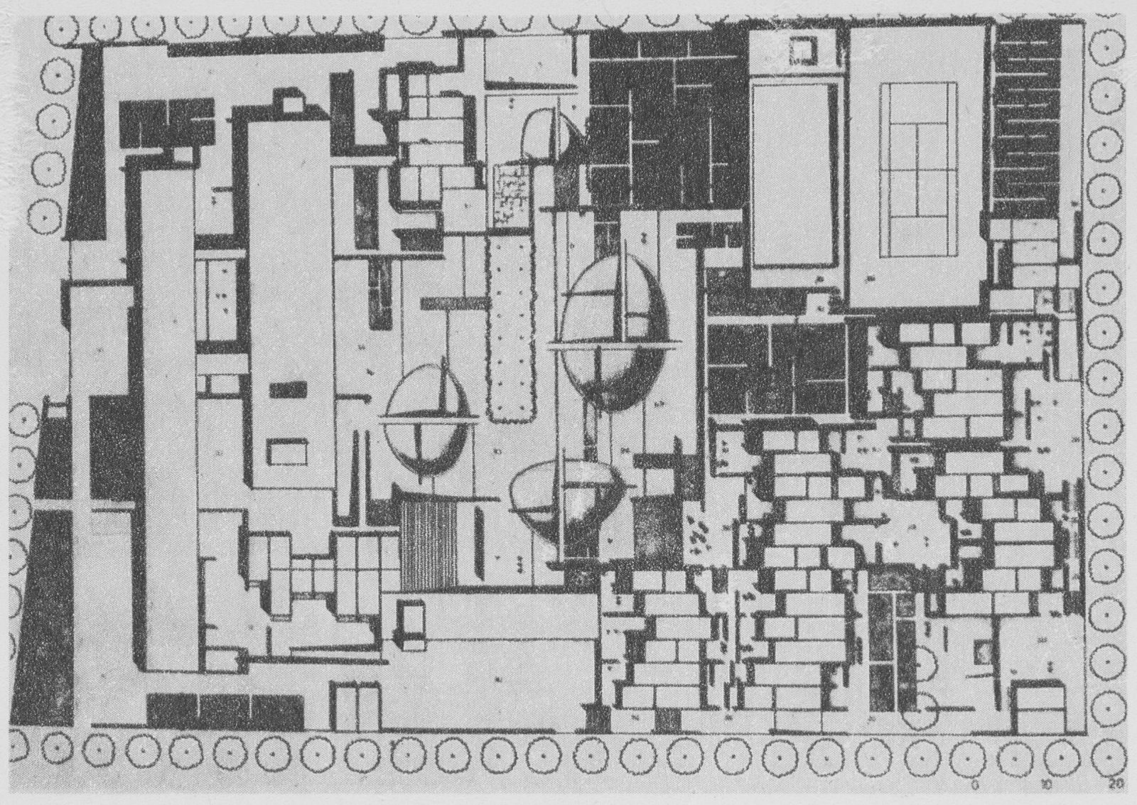 Overview of the embassy premises, garden and living quarters as seen from the reception halls, photo Michał Gutt. Architektura 1971, no. 8, p. 315, 316 and 317 Association of Polish Architects (SARP) Library