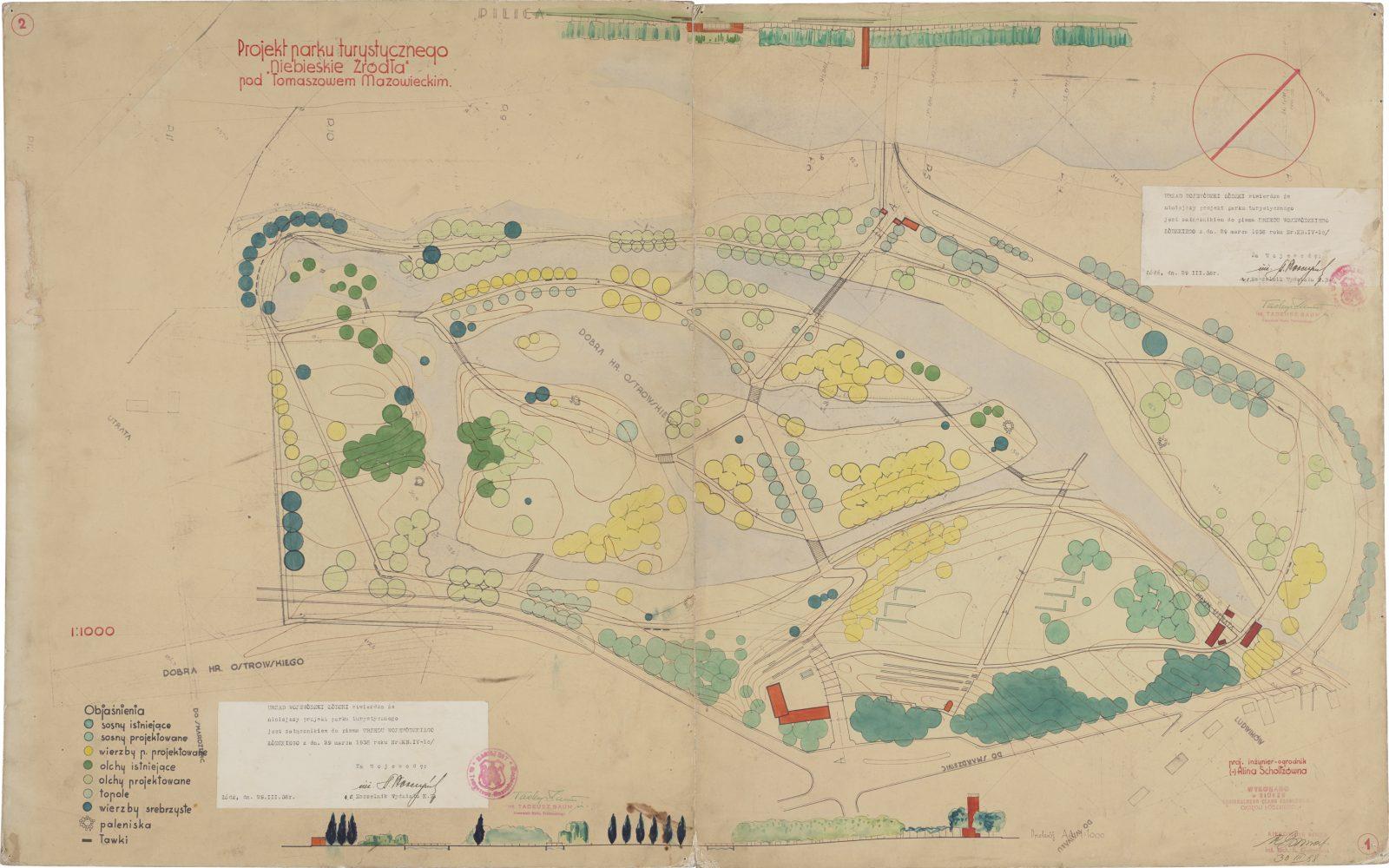 Design of Blue Springs Park near Tomaszów Mazowiecki. Designed by Alina Scholtz, 1938, ozalid, watercolour. Private property