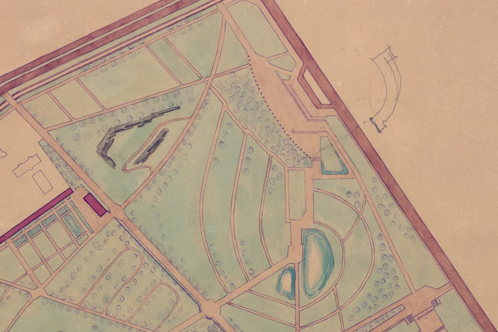 Draft design for the zoo and Praga Embankment design by Alina Scholtz/Warsaw University Library Studio, 1950, ozalid, watercolour. National Institute of Architecture and Urban Planing