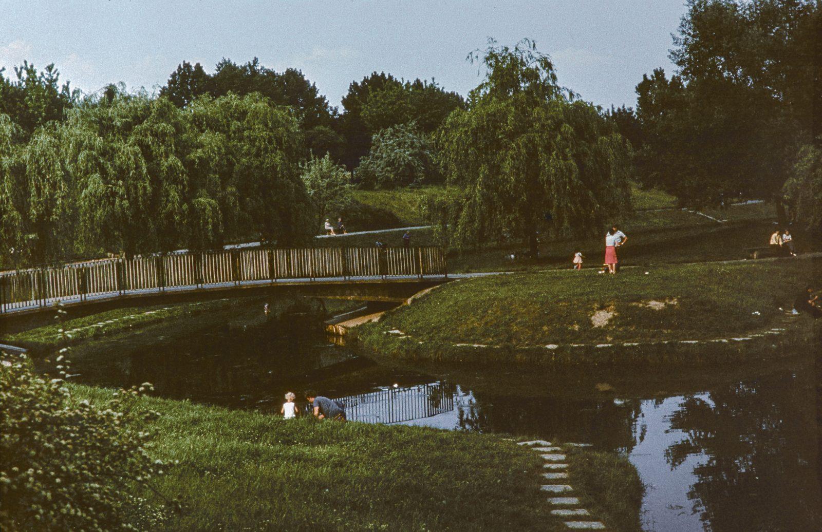 Tomasz Smoliński, view of the pond and the mound in the park. 1978, the author's collection. Społeczne Archiwum Warszawy, 168 021